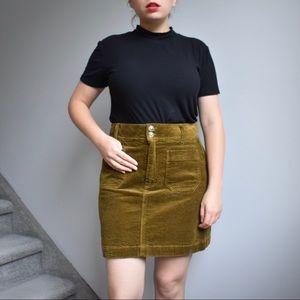 Madewell Yellow / Green Corduroy Skirt